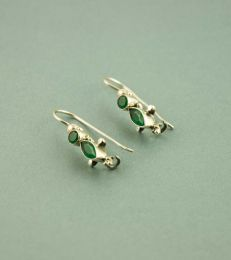 Marquise Dangler Earrings in Green by fourseven