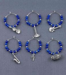 Music Masala Wine Charms in Blue Onyx