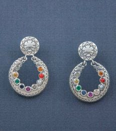 Silver Navratna Gemstone Post Dangler Earrings by fourseven