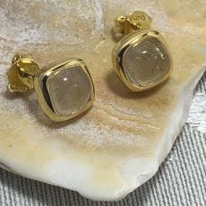 Araiya Gold-plated Silver Rutile Quartz Gemstone Stud Earrings