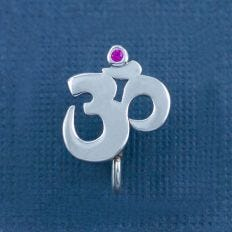 Silver Om Nose Clip Front View Composition