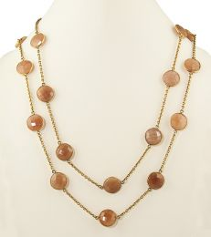 Long Wrap Station Necklace in Gold-plated Brass and Rose Chalcedony