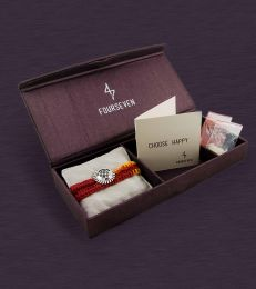 Sudarshan Chakra Brooch Rakhi Gift Set by fourseven