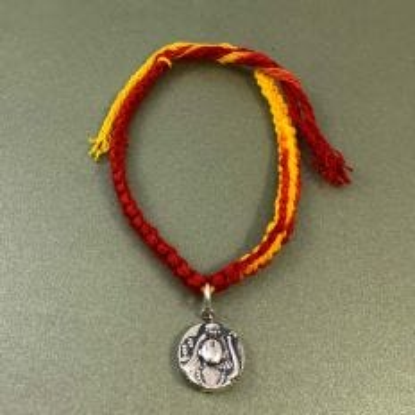 Simplicity Moli Rakhi Bracelet with Ram Sita Aashirwaad Silver Charm