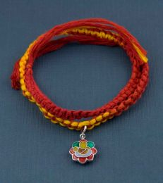 Wrap Around Moli Rakhi Bracelet With Rangoli Ganesha Charm by fourseven