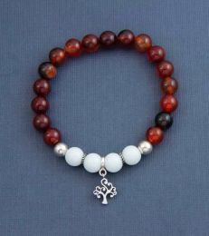 Tree of Life Charm with Remembrance Multi Onyx & White Jade Bead Bracelet