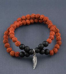 Rudraksh Bracelet with Angel Wing Charm by fourseven