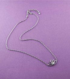 Sattva Lotus Necklace in Sterling Silver full view