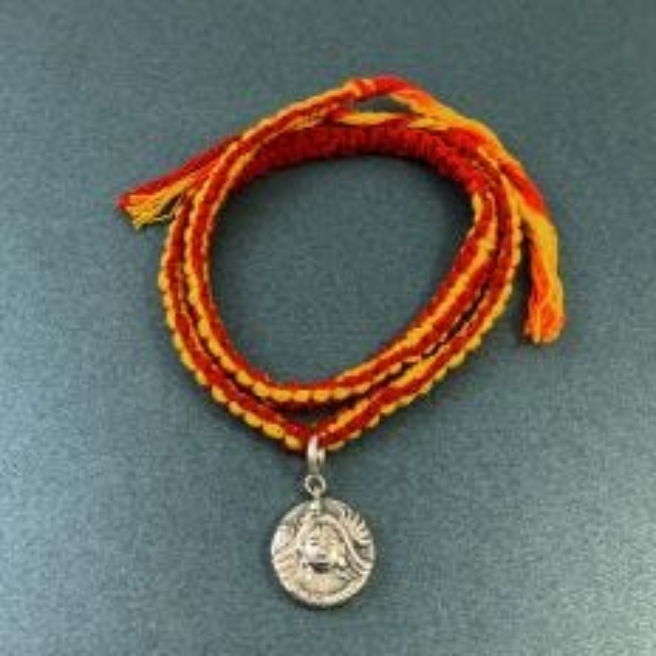 Shiva Parvati Aashirwaad Silver Charm Wrap Around Moli Rakhi Bracelet