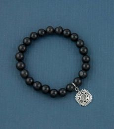 Black Agate Bead Bracelet with Shri Yantra Charm by fourseven
