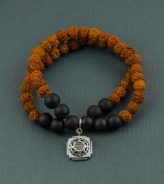 Double Layer Rudraksh Bracelet with Shri Yantra Charm by fourseven