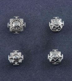 Shree Yantra Kurta Button Set_Sterling Silver from fourseven