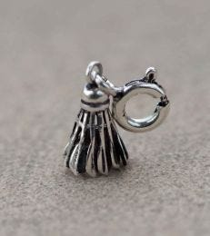 Shuttle Cock Charm in Sterling Silver by fourseven