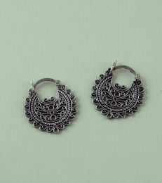 Silver Half Moon Jaali Earrings