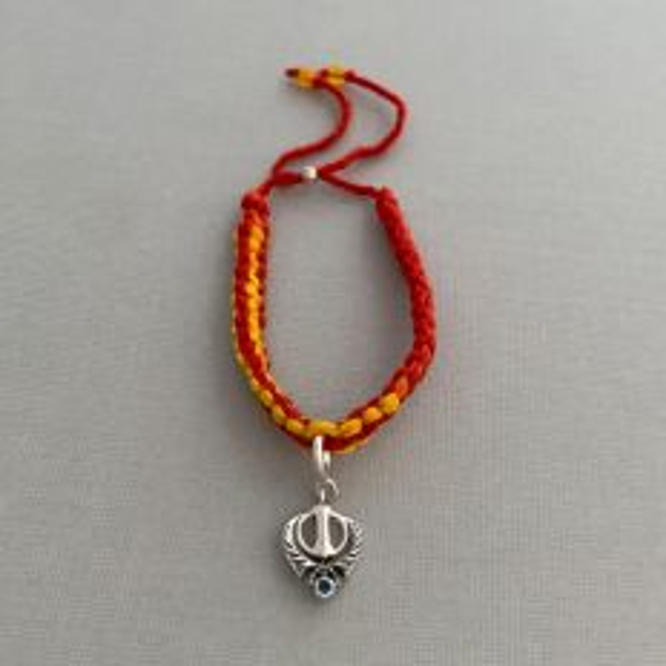 Adjustable Moli Rakhi Bracelet with Silver Divine Knowledge Khanda Charm