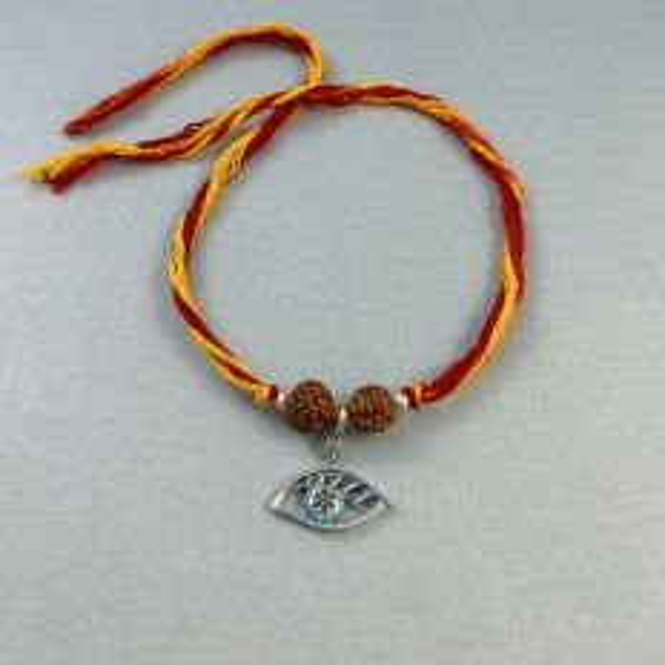 Silver See No Evil Charm with Rudraksha Moli Rakhi Bracelet