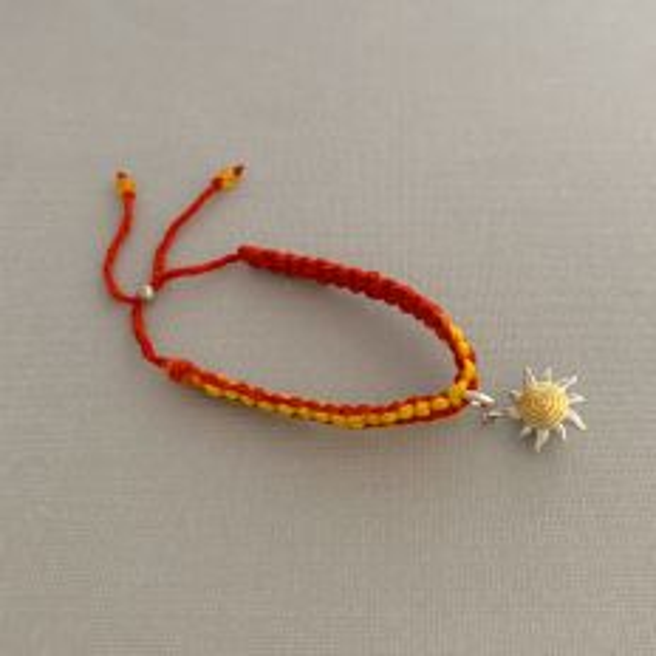 Adjustable Moli Rakhi Bracelet with Silver Sunshine Charm