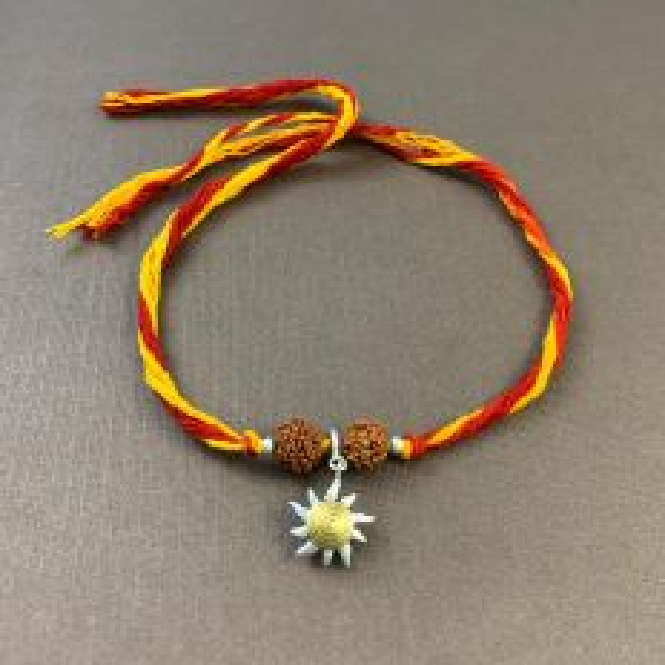 Silver Sunshine Charm with Rudraksha Moli Rakhi Bracelet