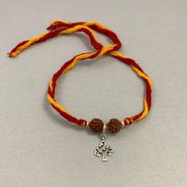 Silver Tree of Life Charm with Rudraksha Moli Rakhi Bracelet