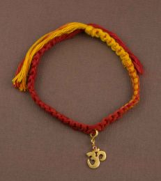 Simplicity Moli Rakhi Bracelet with Silver gold om Charm by Fourseven
