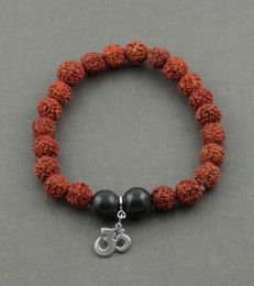 fourseven Simplicity Rudraksh Bracelet with Om Charm in Silver