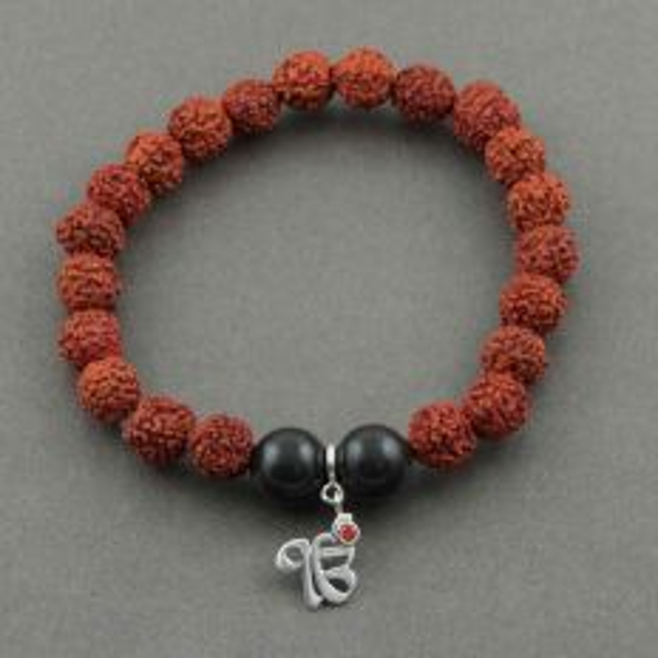 Simplicity Rudraksh Bracelet with Silver Ek Onkar Charm