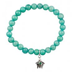 Small Onyx Bead Bracelet In Sea Green with Cruisin The Current Sea Turtle Charm