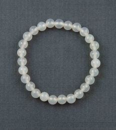Small Onyx Bead Bracelet in White by fourseven