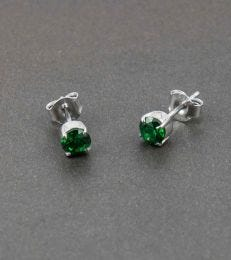 Sparkling Colours CZ Stud Earrings-Green