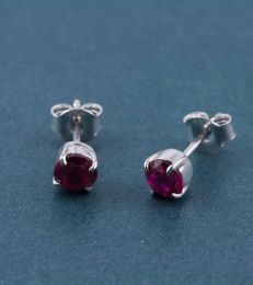 Sparkling Colours CZ Stud Earrings-Hot Pink