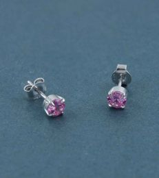 Sparkling Colours CZ Stud Earrings-Pink