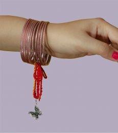 Gift Silver Lumba Moli Rakhi with Spread your wings Butterfly Charm online