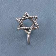 Star of David Nose Clip-on Nose Pin Front View Composition
