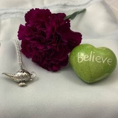 Silver Three Wishes Genie Lamp Pendant on Chain
