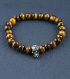 Tiger's Eye Bead Bracelet with Afterlife skull bead by fourseven
