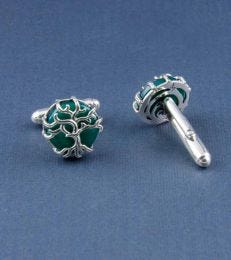 Tree of Life Cufflinks in Green Onyx by fourseven