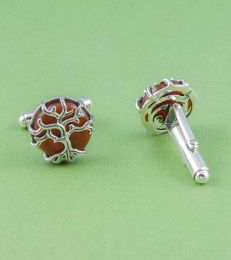 Tree of Life Cufflinks in Red Onyx by fourseven