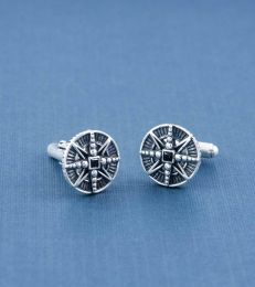 Sterling Silver True North Compass Cufflinks