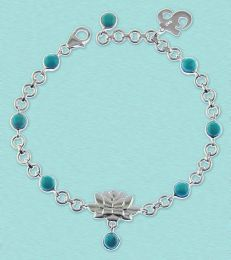 fourseven turquoise lotus charm bracelet in sterling silver
