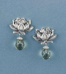 Water Lily Dangler Earrings in Green Amethyst by fourseven