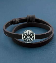 Double Wrap Dark Brown PU Faux Leather Band Bracelet With Lotus Mandal Pendant