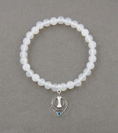 White Onyx Bead Bracelet with Divine Knowledge Khanda Charm