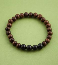 Wood and Black Agate Bead Bracelet by fourseven