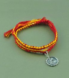 Wrap Around Moli Rakhi Bracelet with Lakshmi & Ganesh ji Charm