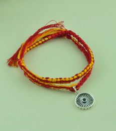 Wrap Around Moli Rakhi Bracelet with Wheel of Progress Charm