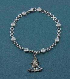 Yogi Lotus Charm With Rainbow Moonstone Charm Bracelet in sterling silver