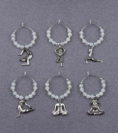Yogi Chakras Wine Charms Set in White Onyx