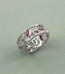 Zaynah Flowering Leaves Gemstone Band Ring in Ruby by fourseven