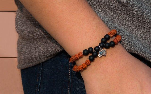 Double Layer Rudraksh Bracelet with Silver Damru Charm for Men