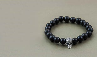Afterlife Skull Bead Bracelet in Black Agate